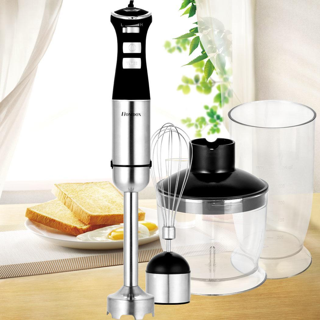 4 In 1 Electric Hand Blender 5-speed Mixing Food Stirring Chopping Whisk 800W