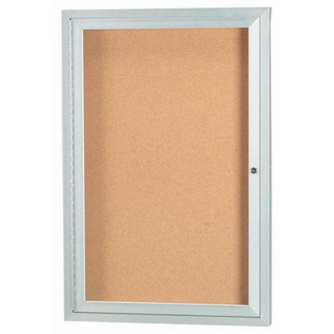 Aarco Products DCC3624R 1-Door Enclosed Bulletin Board - Clear Satin Anodized