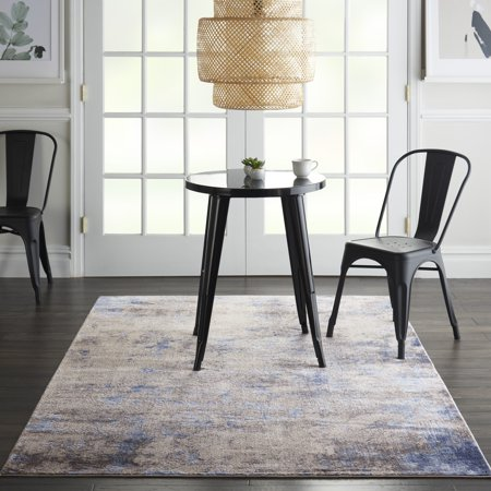 Nourison Sleek Textures Abstract Blue/Ivory/Grey Area Rug ()