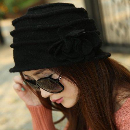 Women Flower Bowknot Wool Felt Bucket Hat Packable Foldable Cloche Beanie - Wool Felt Hats Wholesale