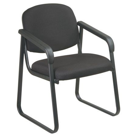 Deluxe Arm Guest Chair with Sled Base, Black Frame