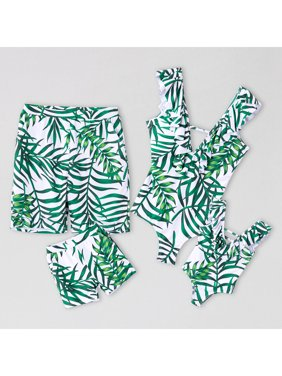PatPat Green Leaf Family Matching Swimsuits Women Men Boy Girl Beach Swimwear