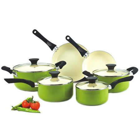 Nonstick 10-piece Cookware Set with Ceramic Coating, Green