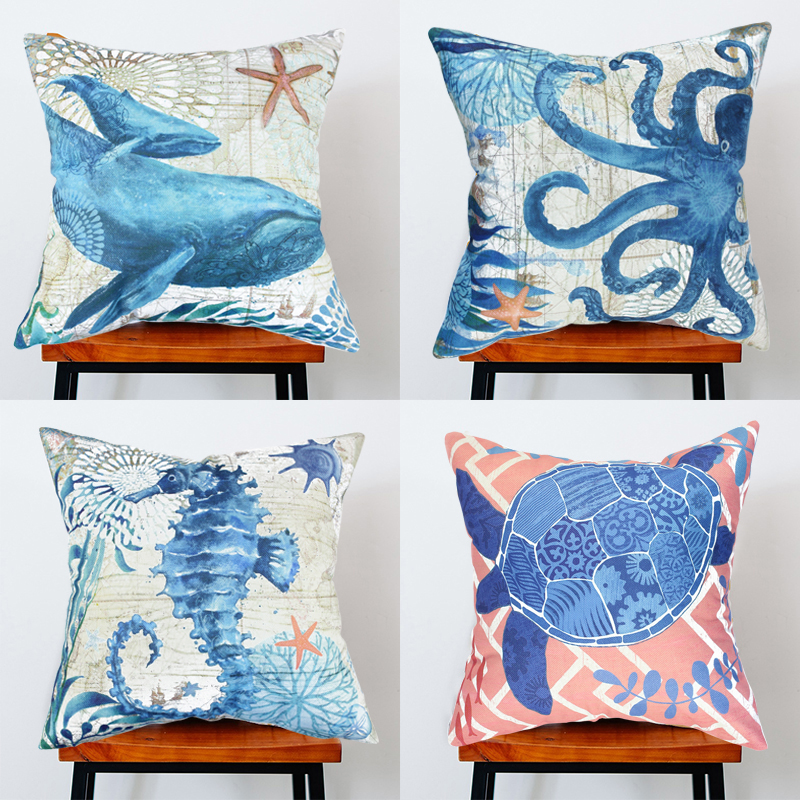 Wendana Set of 4 Sea Theme Decorative Pillow Cover,Cute Sea Theme Throw Pillow Cases For... by CocTree LLC