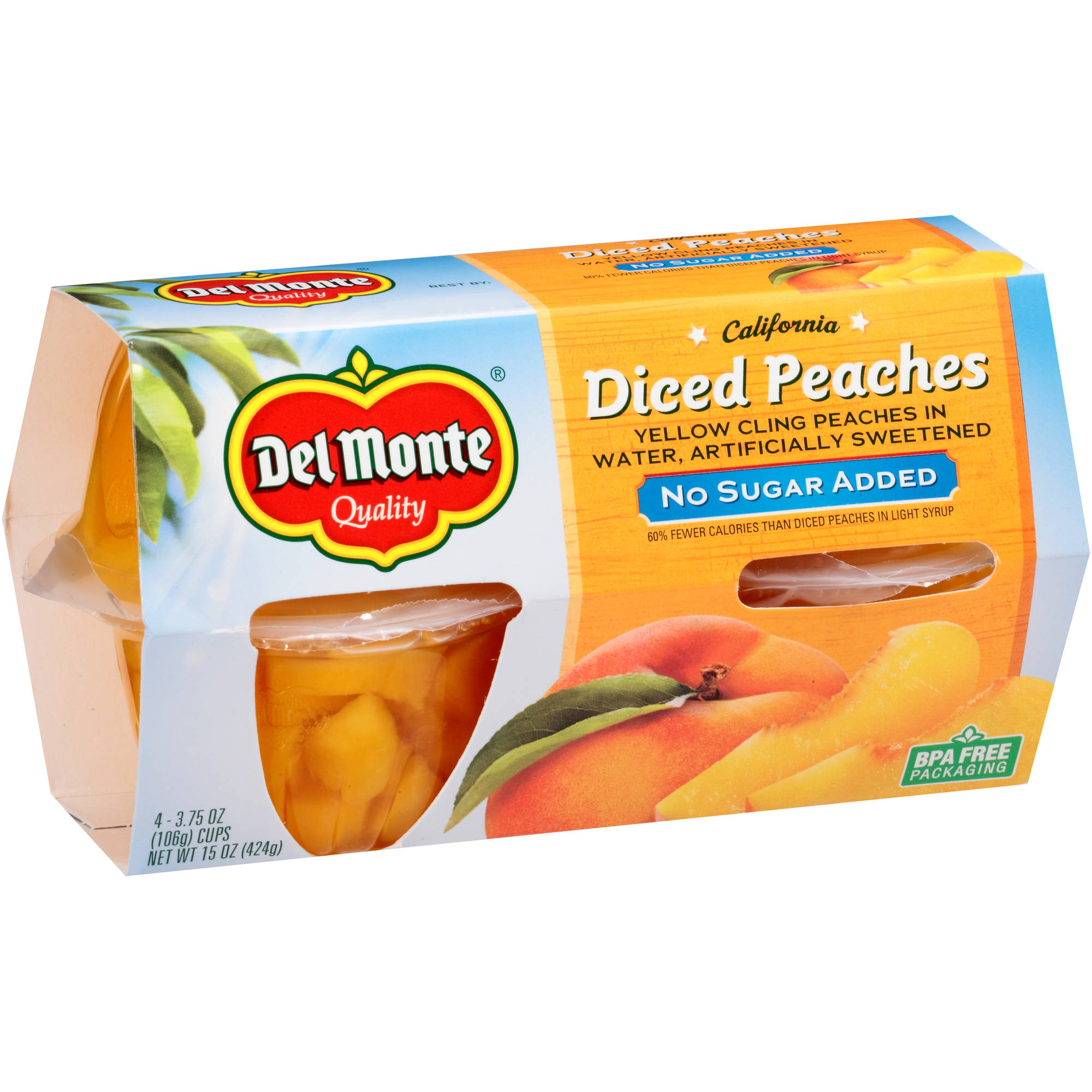 Del Monte No Sugar Added California Diced Peaches Yellow Cling Peaches in Water, 3.75 oz, 4 count