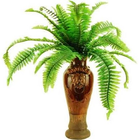 23 in. Fern in a Lions Head Ceramic Vase (Betty Lou Nichols Head Vases For Sale)