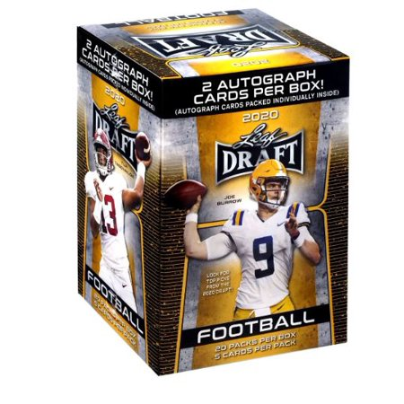 2020 Leaf NFL Draft Football Trading Cards Blaster Box- 2 Autographs | 20 packs Included- Featuring Joe Burrow, Tua Tagovailoa and More Time Autographed Card
