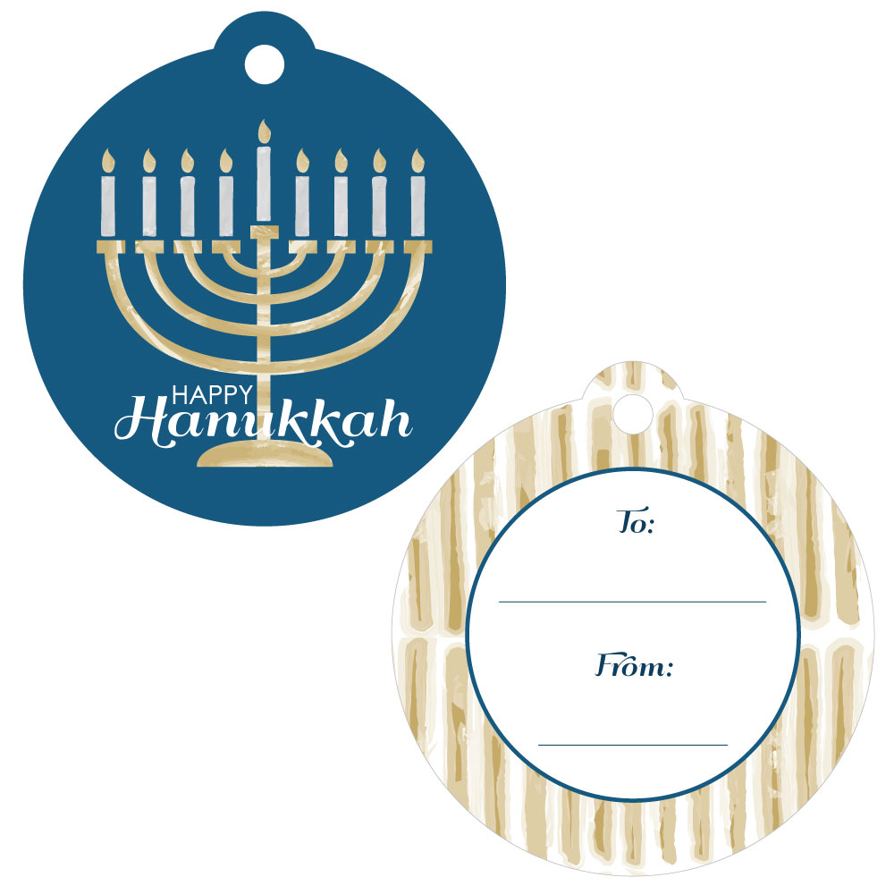 Happy Hanukkah - Chanukah Favor Gift Tags - Set of 20