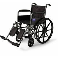 """Medline K1 Basic 18"""" Wheelchair, Elevating Legrests, Full Length Arms"""