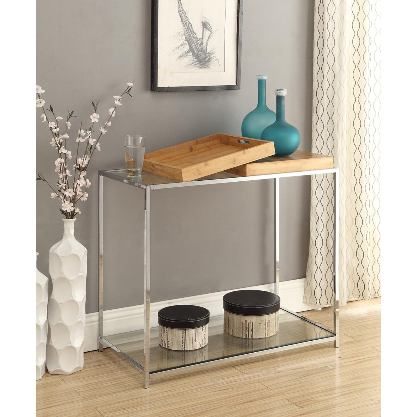 Convenience Concepts Palm Beach Console Table with Trays Multiple