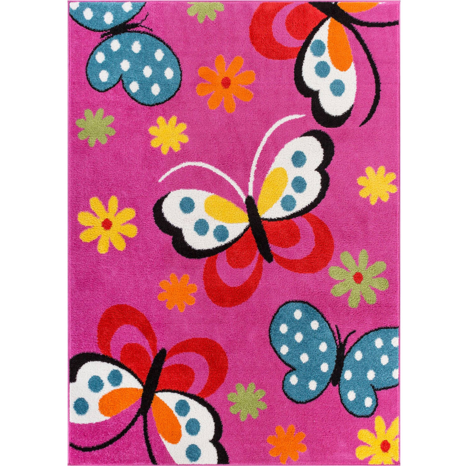 Well Woven Starbright Daisy Butterflies Kids Area Rug