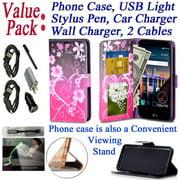 "Value Pack + for 5.7"" LG Stylo 3 K10 PRO Stylus 3 + PLUS Case Phone Case Wallet Grip Texture Kickstand Hybrid Pocket Purse Screen Flip Cover Big Heart Pink"