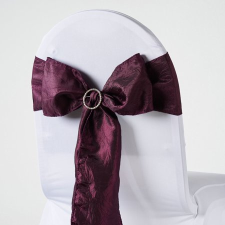 BalsaCircle 5 pcs Taffeta Crinkle Chair Sashes Bows Ties - Wedding Party Ceremony Reception Event Decorations Unique Supplies