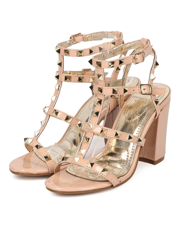 4ed2dfaf1c DbDk - Women Patent Leatherette Open Toe Strappy Studded Block Heel Sandal  HB24 - Walmart.com