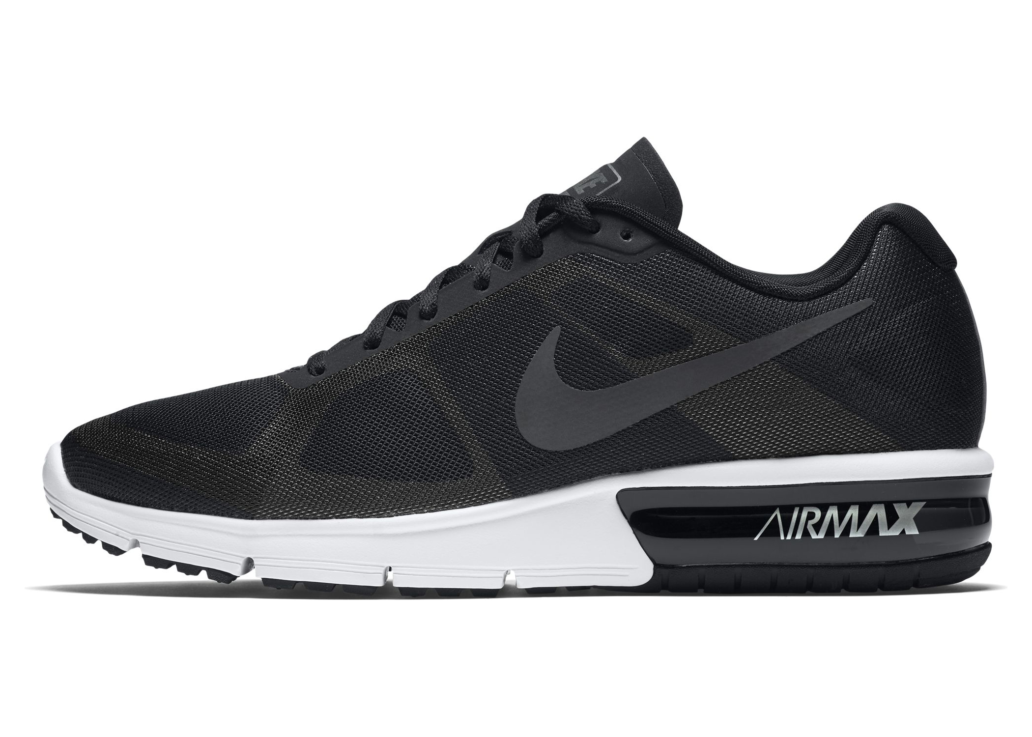 Men's Nike Air Max Sequent Running Shoe Black Metallic Hematite-Wolf Grey-White by Nike