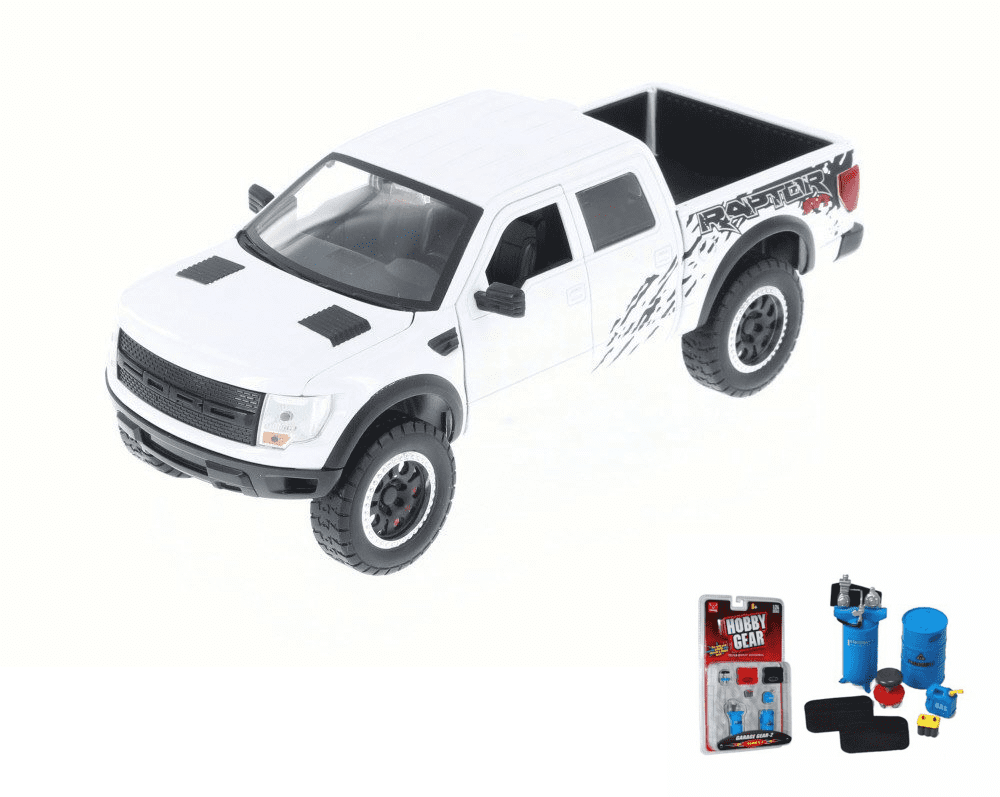 Diecast Car & Garage Diorama Package Ford F-150 SVT Raptor Pickup Truck, White Jada Toys... by ModelToyCars