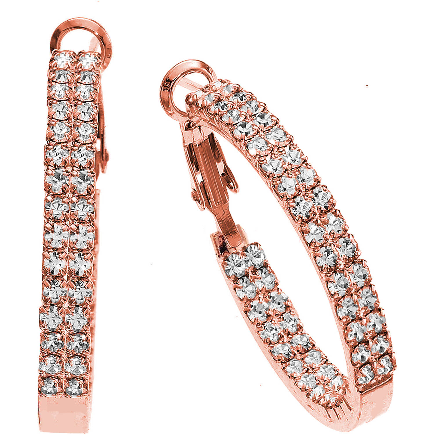 X & O Handset Austrian Crystal 30mm Rose Gold-Plated Twin-Row Inside-Out Earrings
