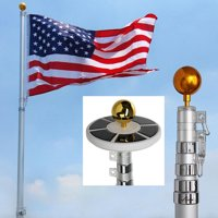 25Ft Telescopic 16 Gauge Aluminum Flag Pole with Solar Lights (25 Ft)