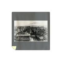 Seattle, Washington - View of Mt. Rainier, Aerial View of Downtown - Vintage Photograph (88x88 Queen Microfiber Duvet Cover)