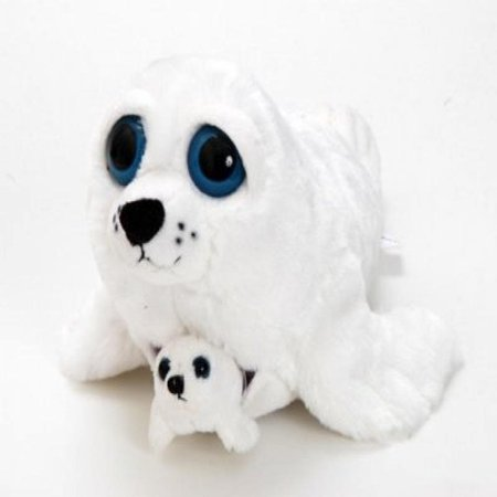 "the petting zoo 13"" bright eyes pocketz harp seal stuffed animal"