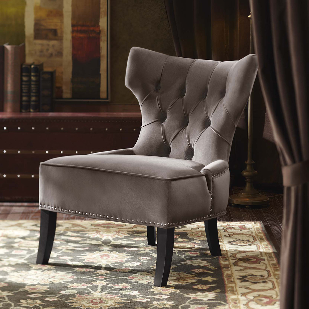 Madison Park Erika Hourglass Tufted Armless Chair   Grey   27.25x31.5x35.8