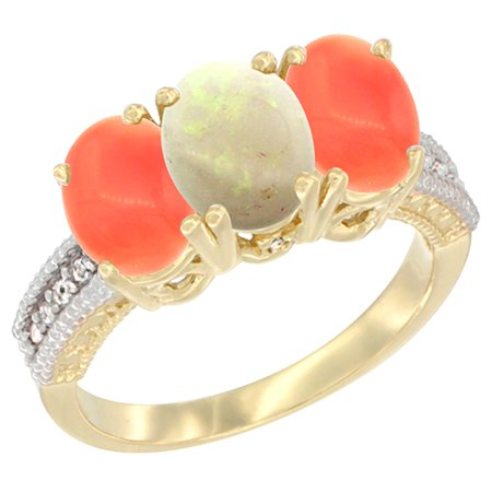 14K Yellow Gold Natural Opal Ring with Coral 3-Stone 7x5 mm Oval Diamond Accent, sizes 5 - 10