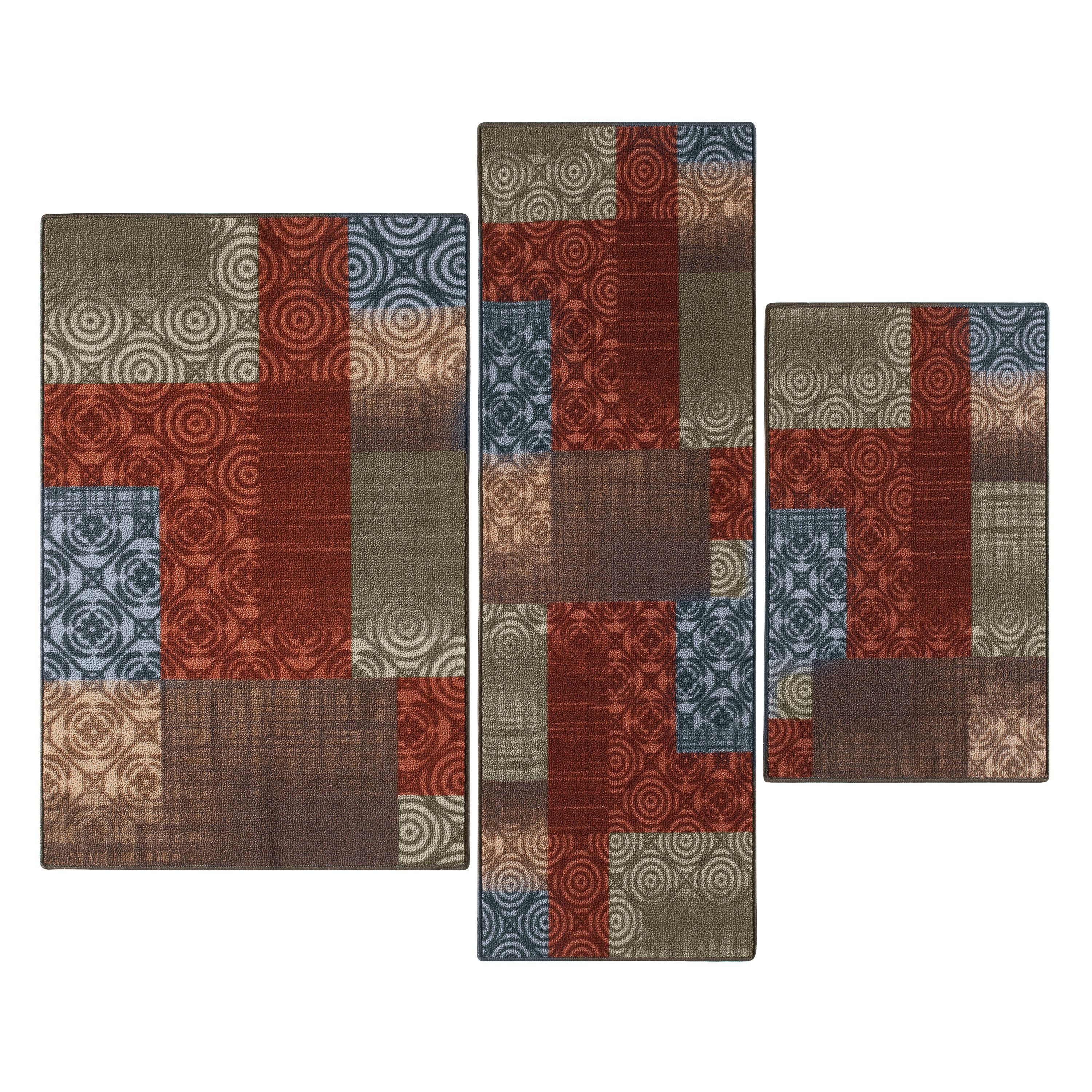 Mainstays Payton Loop Pile Multi Colored 3-Piece Accent Rug Set