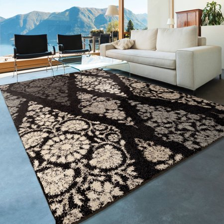 orian rugs plush circles diamond scroll black area rug. Black Bedroom Furniture Sets. Home Design Ideas