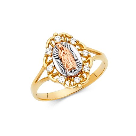 Our Lady Of Guadalupe Oval Flower Shape With Prong Set CZ 15mm 14k Multi Colored Tri Tone Italian Solid Gold Ring Size 8 Available All Sizes