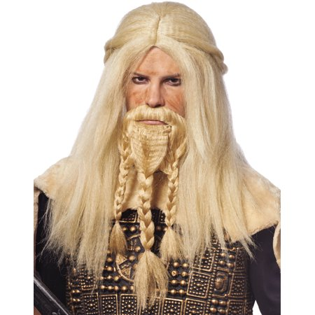 Viking Beard Costume (Mens Long Blonde Viking Warrior Mens Scottish Wig Beard)
