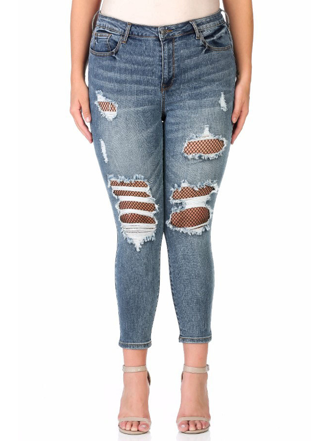 Juniors' Plus Size Mid Rise Destructed Crop Skinny with Fishnet Detail