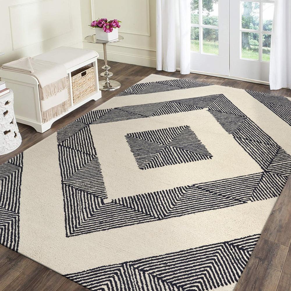 Lr Home Geometric Groove Ivory 9x12 Indoor Area Rug Walmart Com Walmart Com