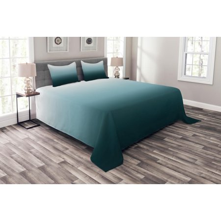 Ombre Bedspread Set, Vertical Change Themed Illustration with Teal Shades Darkening Design, Decorative Quilted Coverlet Set with Pillow Shams Included, Teal Pale Blue and White, by Ambesonne ()