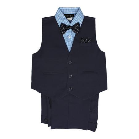 Avery Hill Boys' 4 Piece Vest Bowtie Colored Shirt Set