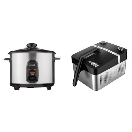 Brentwood Appliances TS-20 10-Cup Stainless Steel Rice Cooker and AF-32SS 3.4-Quart Horizontal Rapid Electric Air Fryer (Best Rated Rice Cookers Steamers)