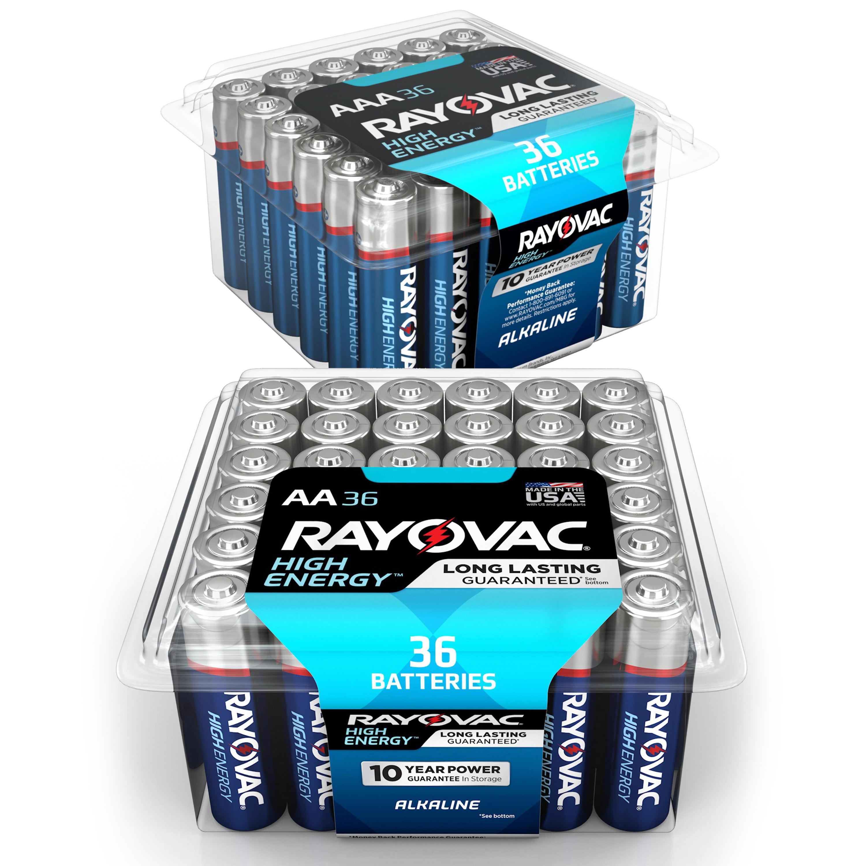 (2 Pack) Rayovac High Energy Alkaline, AA Batteries, 48 Count