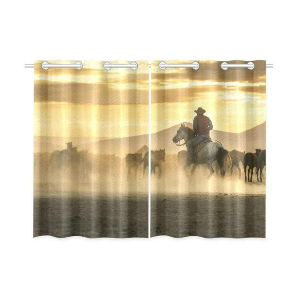 Mkhert Western Cowboys Tame Horses Window Curtains Kitchen Curtain Room Bedroom Drapes Curtains 26x39 Inch 2 Piece Walmart Com Walmart Com