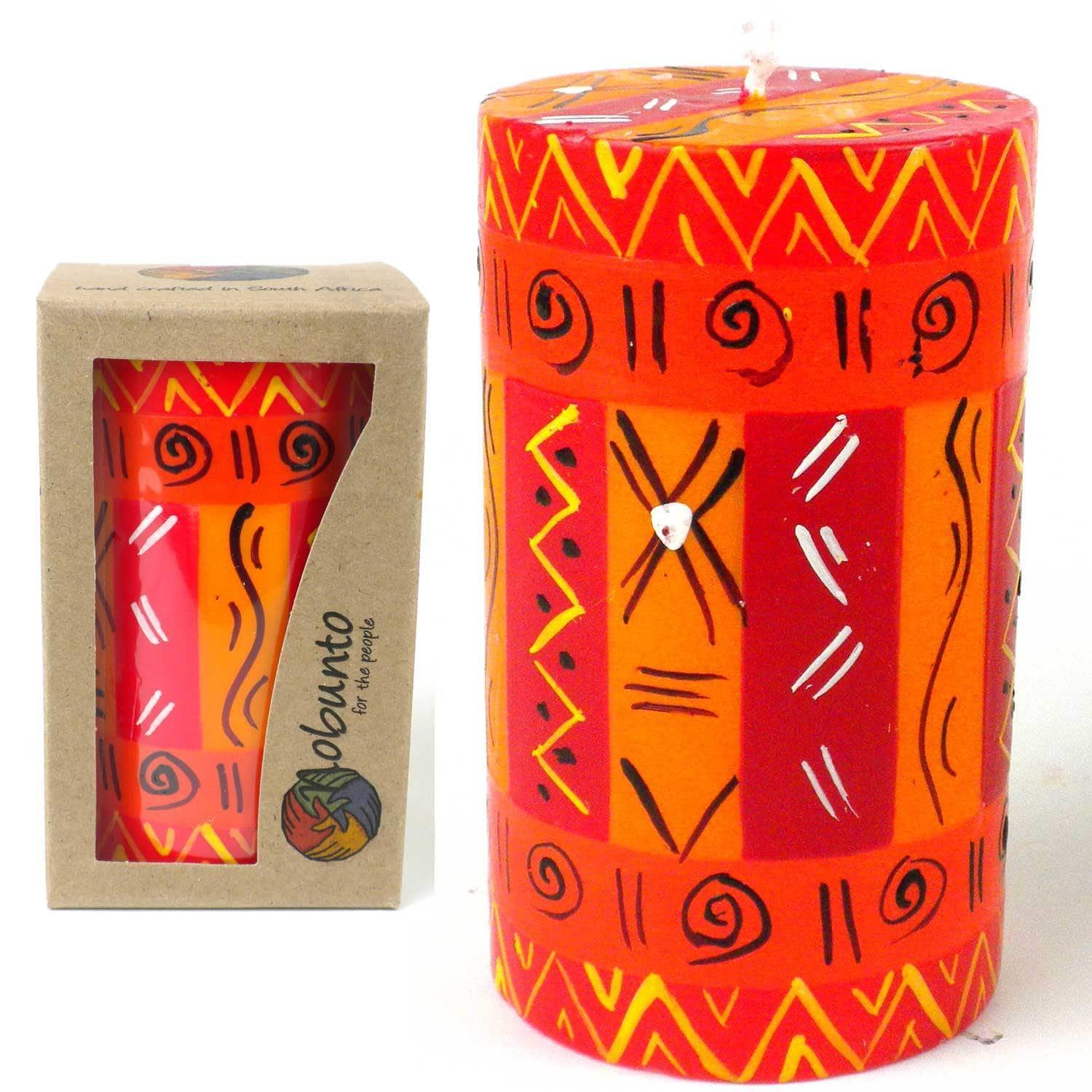 Global Crafts Single Boxed Handmade Zahabu Design Pillar Candle (South Africa)