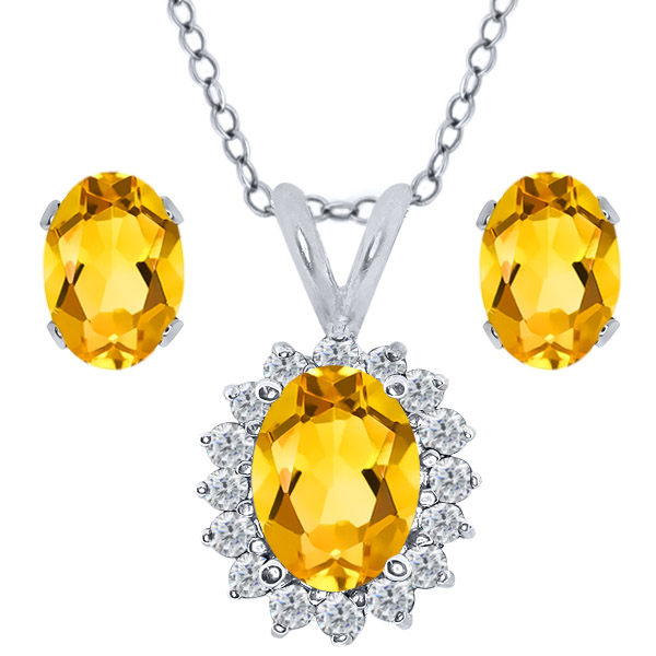 2.29 Ct Oval Yellow Citrine 925 Sterling Silver Pendant Earrings Set by
