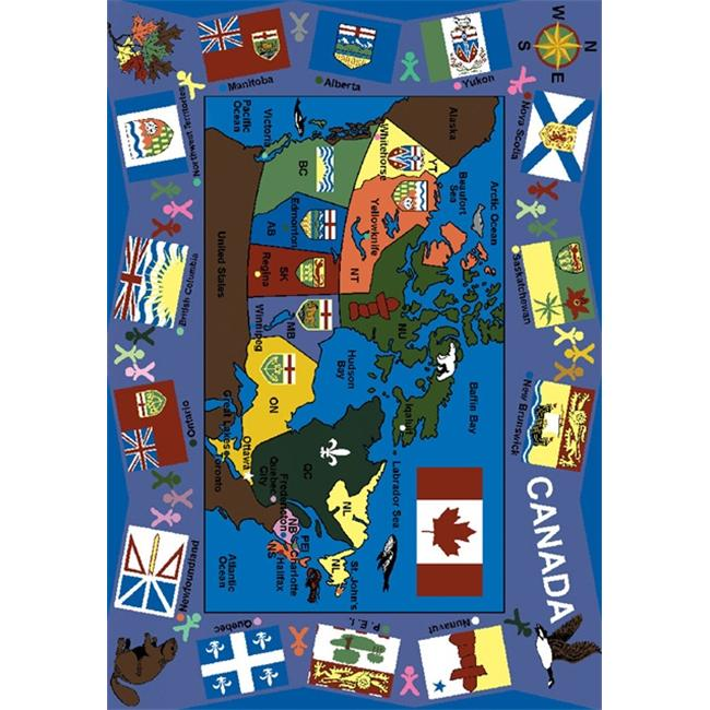 Joy Carpets 1455C Flags of Canada 5 ft. 4 inch x 7 ft. 8 inch 100 Pct.  STAINMASTER Nylon Machine Tufted- Cut Pile