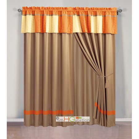 4 pc cozy patchwork striped quilted curtain set orange mocha yellow valance drape sheer liner. Black Bedroom Furniture Sets. Home Design Ideas