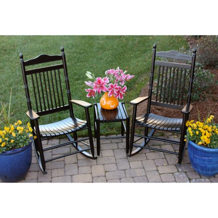 Dixie Seating 3 pc. Spindle Rocking Chair Set with Side Table - Black ...