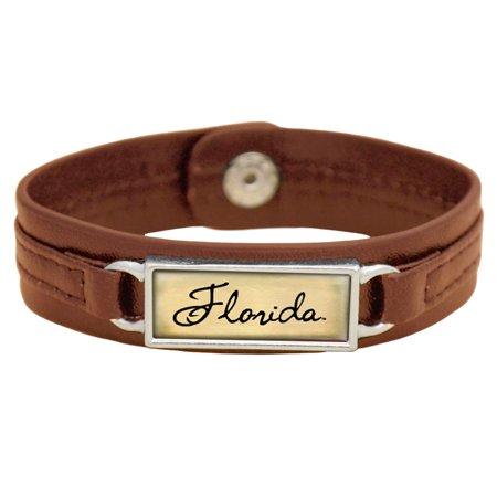 Florida Gators Women's Sepia Leather Bracelet - Brown - No Size Florida Gators Embroidered Leather