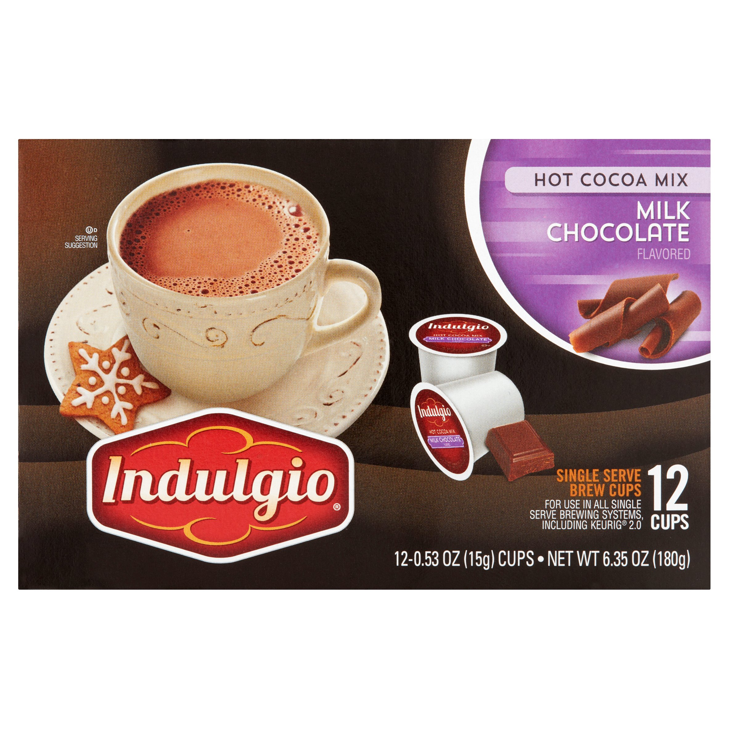 Indulgio Milk Chocolate Flavored Hot Cocoa Mix, 0.53 oz, 12 count by Trilliant Food & Nutrition, LLC