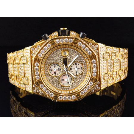 Iced Out Stainless Steel Simulated Diamond Watch AP-03 ()