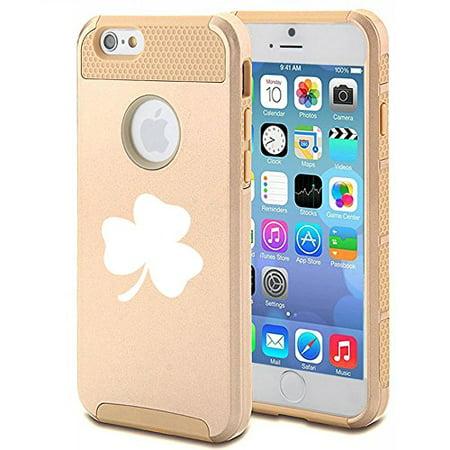 - For Apple iPhone 7 Shockproof Impact Hard Soft Case Cover 3 Leaf Clover Shamrock (Gold)