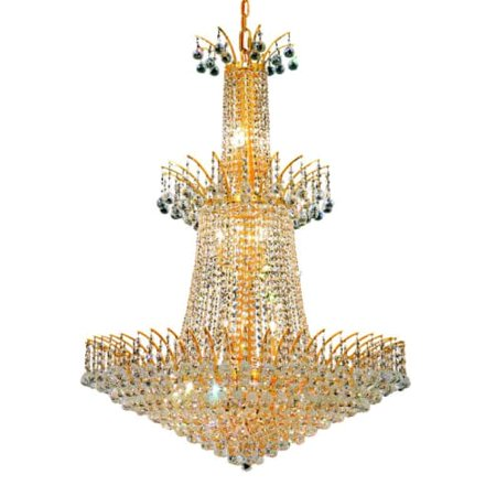 Elegant Lighting 8031g32g Victoria 18 Light Three Tier Crystal Chandelier Finished In Gold With Clear Crystals