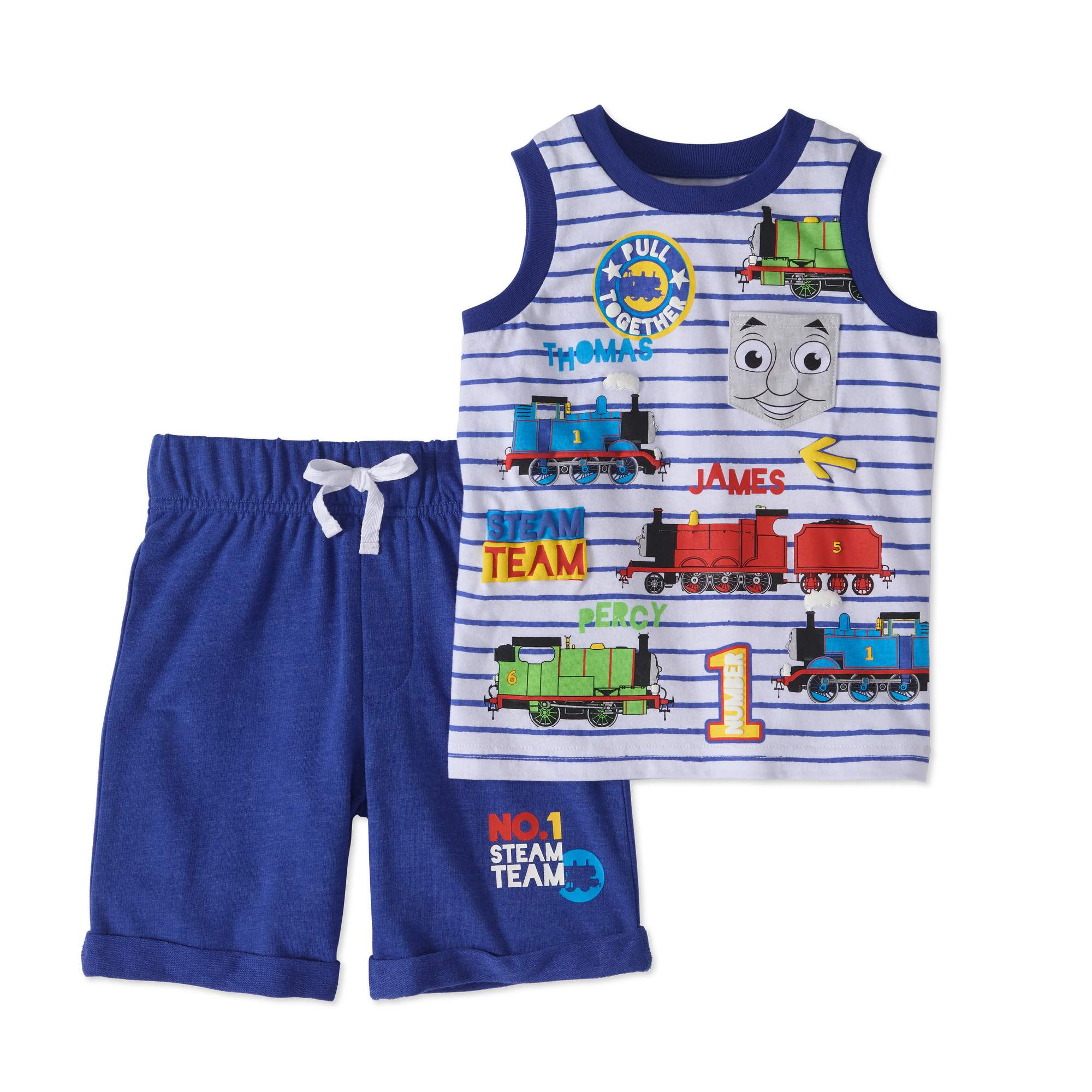 Thomas the Train Toddler Boys' Tank and French Terry Shorts 2-Piece Outfit Set