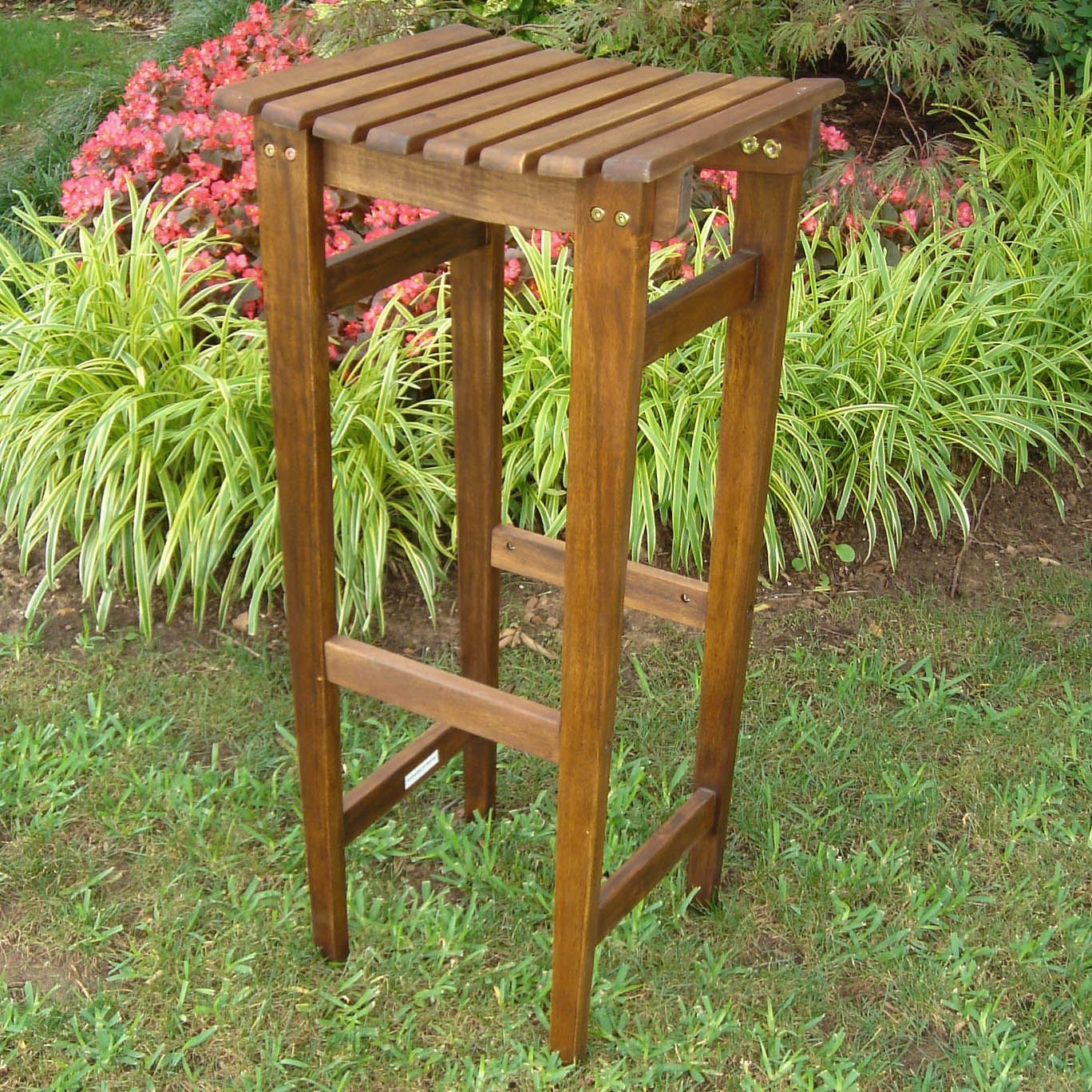 Highland Outdoor Acacia Bar Stools (Set of 2)