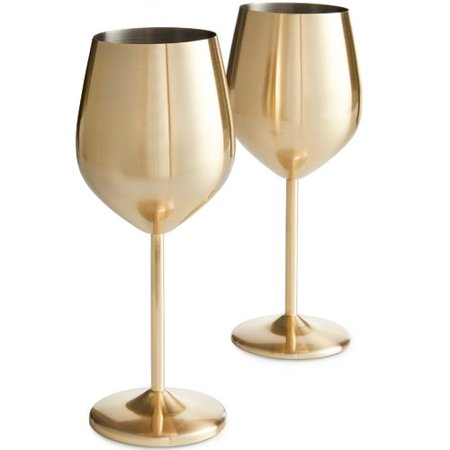 VonShef 16 oz. Stainless Steel Stemmed Wine Glass (Set of 2) - Gold Wine Glasses